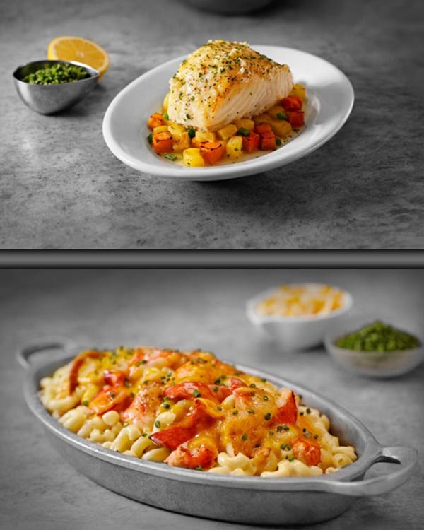 Pan-Roasted Chilean Sea Bass Over Sweet Potato & Pineapple Hash and Ruth's Famous Lobster Mac-N-Cheese