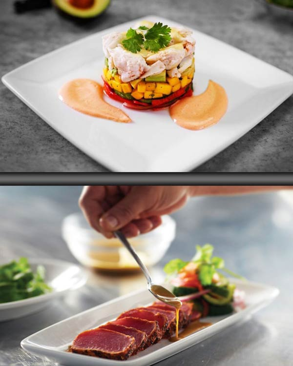 Blue Crab Topped With Avocado & Mango and Seared Ahi Tuna Accompanied With A Delicious Sauce With Hints of Ginger, Mustard & Beer