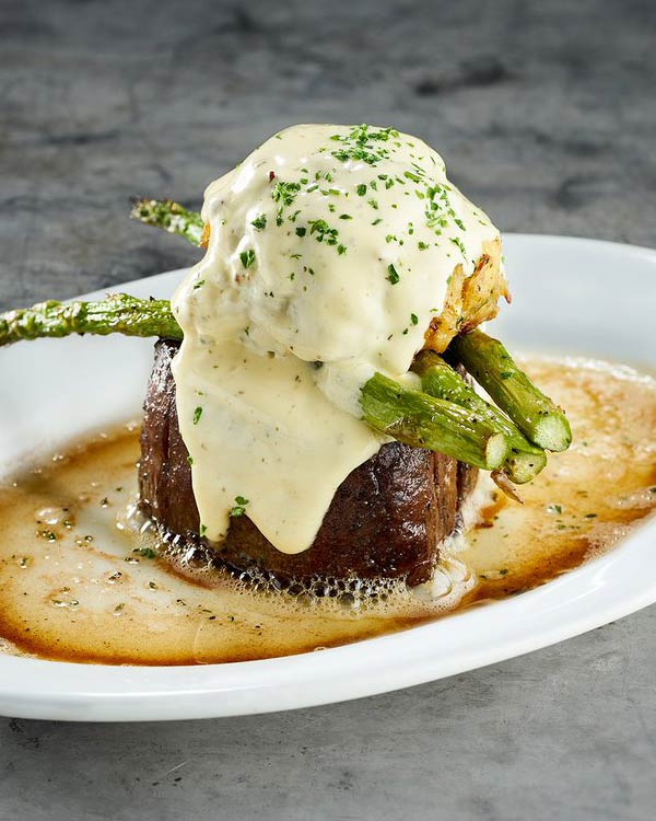 Filet Topped With Jumbo Lump Crab, Seared Asparagus and House-Made Béarnaise Sauce